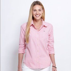 VINEYARD VINES ~ GINGHAM BLOUSE ~ 4 ~ WHALE LOGO